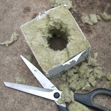 Trimmed open rockwool cube